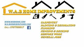 W.A.B HOME IMPROVEMENTS carpentry.painting & decorating,fencing & decking and more