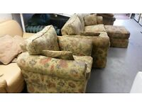 Beautiful High Quality Noble House 3 Piece Suite. 3 Seater Sofa Armchair and Footstool