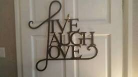 """LARGE METAL SIGN """"LIVE LAUGH LOVE"""" New"""
