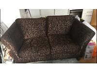 2 seater brown fabric sofa