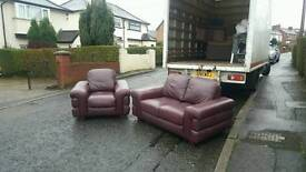 2 and 1 seater sofa in oxblood hyde leather mint mint condition £285 delivered
