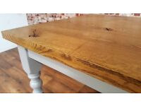 Chunky European Oak Rustic Kitchen Dining Table Antique Manor House Finish Full Stave - Any Size