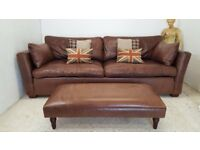 LARGE 4 SEATER BROWN LEATHER SOFA - DELIVERY AVAILABLE