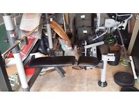 £75 - WORKOUT WEIGHT BENCH + BARBELL