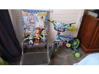 TOY STORY BUNDLE INCLUDES BIKE,TALKING WOODY AND 18CMS BUZZ, INTERACTIVE ROCKET TENT, BNIB,FIGURES