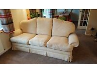 3 Seater Cream Fabric Sofa with Reversible Cushions