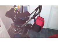 Gesslein F10 Pram /travel system from birth with C - lift soft carrycot, Maxi Cosy Cabriofix carseat