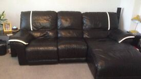 DFS black leather L shape sofa