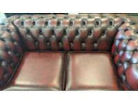 Oxblood Chesterfield Sofa 2 Seater Settee Great Condition Bargain Leather