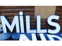 huge shopfront reclaimed two tone colours 3d lettering 10 letters in total