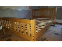 Oak effect wooden double bed frame