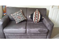 sofa bed soft brown faux swede fabric