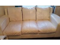 3 & 2 real leather sofa's & matching poufee