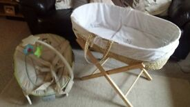 moses basket and chair