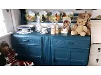 STUNNING UPCYCLED SIDEBOARD SHABBY CHIC SIDEBOARD AND PLATE RACK