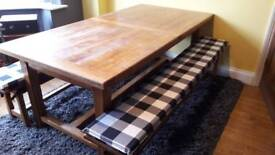 Solid Oak Extendable Table & 2 Benches