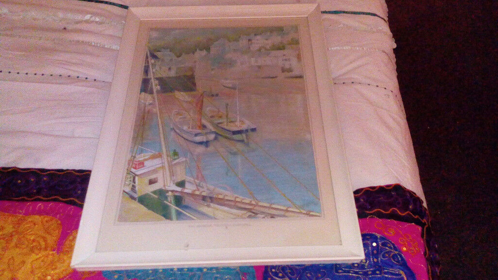 "VINTAGE"" THE HARBOUR"" POLERRO CORNWALL sined framed"