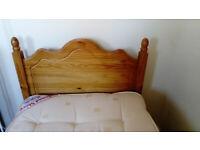 SINGLE WOODEN BED FRAME WITH HEADBOARD/SLATS + mattress FREE