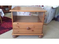 Pine TV unit, single drawer, good condition