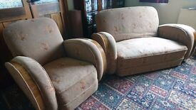 Vintage Brown Three Piece Suite 1950 Wooden arm and Orange Yellow detail 2 chairs 1 sofa Antique