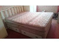 Double divan bed (with storage drawers) mattress and headboard