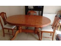 Solid wood table, Chairs & sideboard