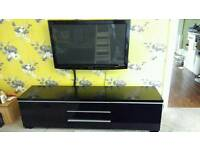 High gloss TV stand cabinet with 2 drawers and shelves