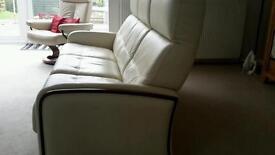 cream leather Italian sofa vgc