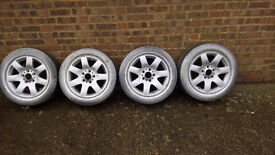bmw 16 inch alloy wheels lightly refurbed and bright silver