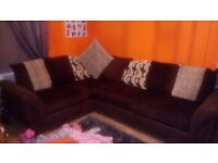 Brown right hand facing corner sofa