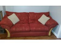 Terracotta 3 Piece Sofa, 3 Seater Sofa and 2 Chairs Excellent Conditon, Super Comfy