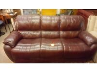 Lovely brown/red 3 seater leather sofa, good condition.CHEAP local DELIVERY SK15 3DN.