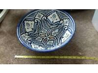 Moroccan pottery fruit bowl large 13 inches width 5.5 inches depth