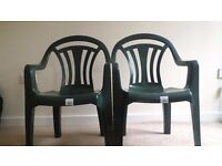 2 Garden Chairs, Green color, 4 months old, In Good Condition, For Collection