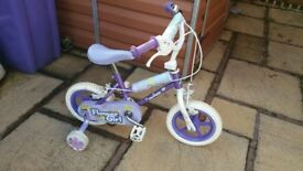 white and purple bike girls. suitable for 3to5 year old