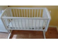 Mothercare white rocking cradle