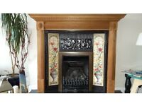 Replica victorian fireplace surround with tiled insert and wooden mantle