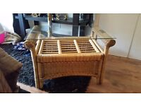 Pine conservatory coffee table - glass top