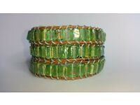 Handmade, new Triple wrap bracelet, iridescent glass beads on natural leather, adjustable fit