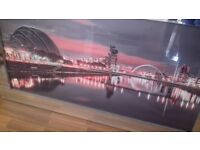 Mirror framed wall picture featuring Glasgows armadillo and Clyde arc (squinty) bridge.