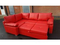 Amazing Brand New red faux leather corner sofa bed with storage.can deliver