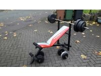 YORK WEIGHTS & ABS FOLD UP BENCH & 52.5KG WEIGHTS & BARS