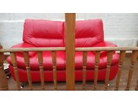 Leather large 2str sofa red