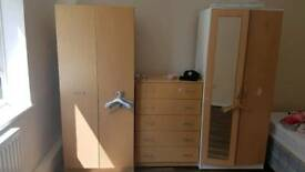 2x wardrobes and 1x chest of drawers