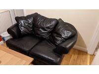Black faux leather 2 seat sofa