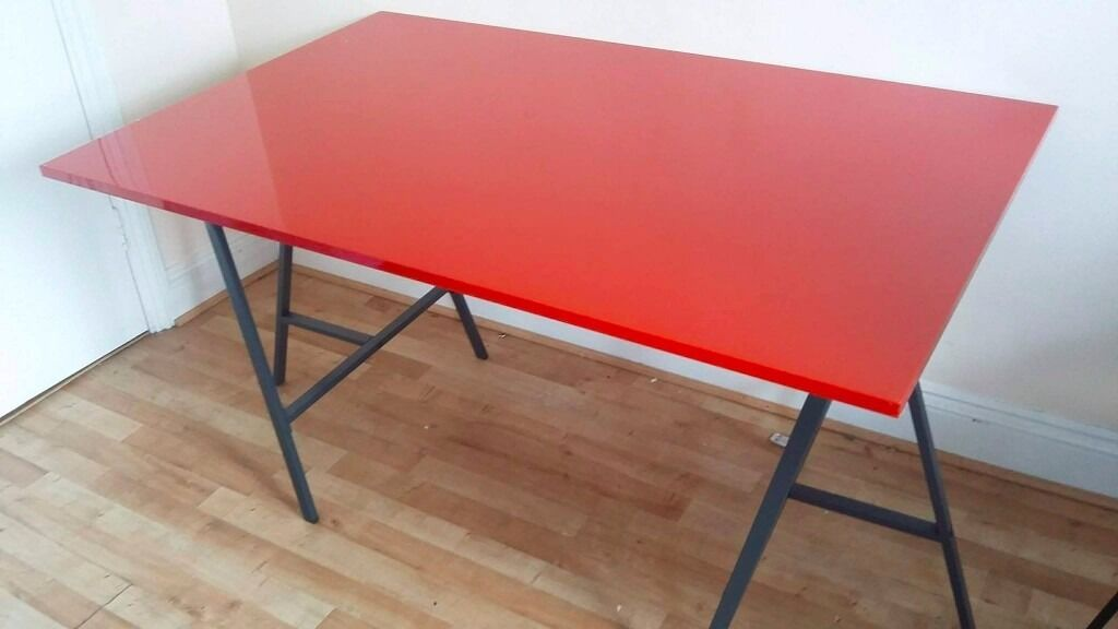 Ikea High Gloss Red Table Desk Top Torsby Rrp