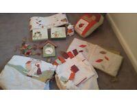 Mama and Papas Hodge Podge Nursery bundle inc curtains, cover, clock, cushion, cot bumper etc.