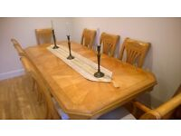 Beautiful large extending ash dining room table with 8 chairs (could seat up to 10)