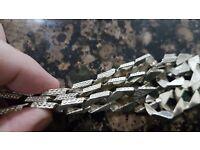 9ct men's white gold chain and bracelet set