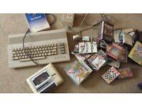 COMMODORE 64 'CONSOLE' WITH TAPE DECK POWER PACK MANUAL AND TONNES OF GAMES £30